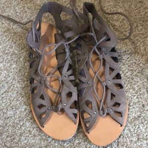 Tan Sandals with up-the-ankle laces